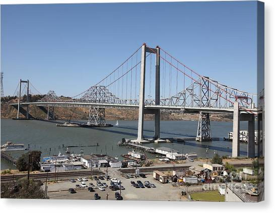 The New Alfred Zampa Memorial Bridge And The Old Carquinez Bridge . 5d16798 Canvas Print by Wingsdomain Art and Photography