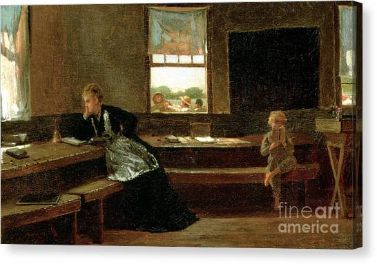 Detention Canvas Print - The Noon Recess by Winslow Homer