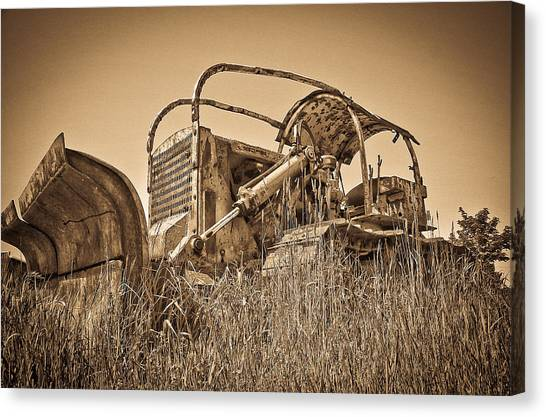 Caterpillers Canvas Print - The Old Bulldozer by Steve McKinzie