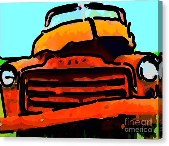 Rusty Truck Canvas Print - The Old Jalopy . 7d8396 . Color Sketch Style by Wingsdomain Art and Photography