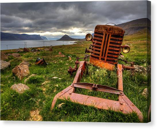 The Old Rust Tractor Canvas Print by Arnar B Gudjonsson