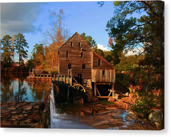 The Old Yates Mill Canvas Print by Sheila Kay McIntyre