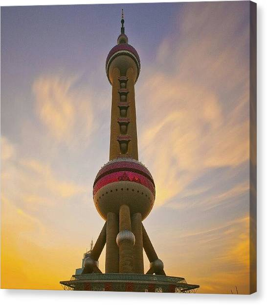 Tagstagram Canvas Print - The Oriental Pearl Tv Tower, Shanghai by Tommy Tjahjono