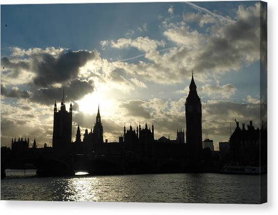 The Outline Of Big Ben And Westminster And Other Buildings At Sunset Canvas Print