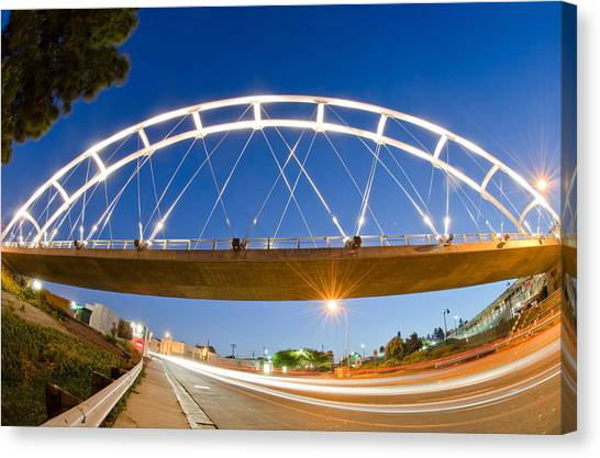 Canvas Print featuring the photograph The Pedestrian Bridge by Margaret Pitcher