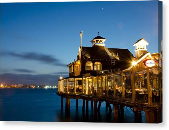 Canvas Print featuring the photograph The Pier Cafe by Margaret Pitcher
