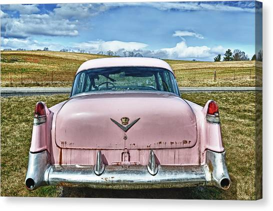 The Pink Cadillac Canvas Print by Kathy Jennings