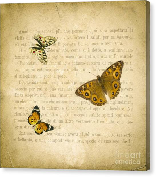 Vintage Canvas Print - The Printed Page 1 by Jan Bickerton