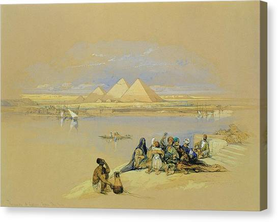 The Nile Canvas Print - The Pyramids At Giza Near Cairo by David Roberts