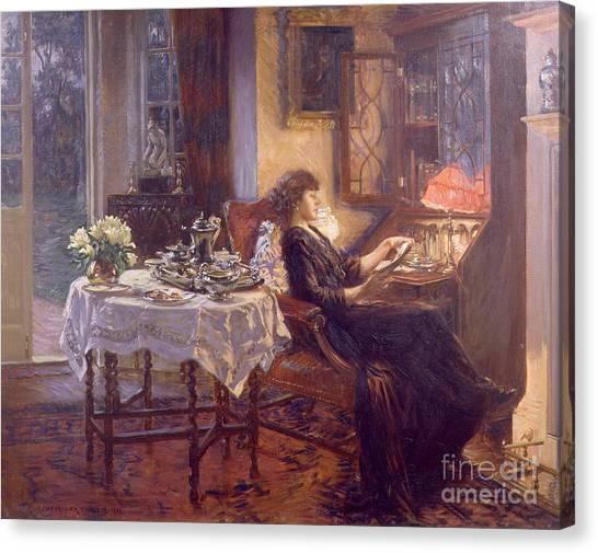 Tea Set Canvas Print - The Quiet Hour by Albert Chevallier Tayler