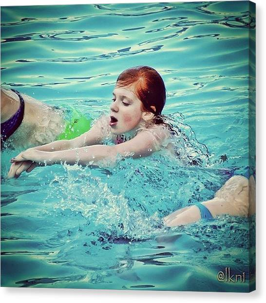 Fluids Canvas Print - The Race.. Repost/re-edit #swim by Margie P