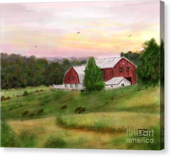 The Red Barn At Sunset Canvas Print by Judy Filarecki