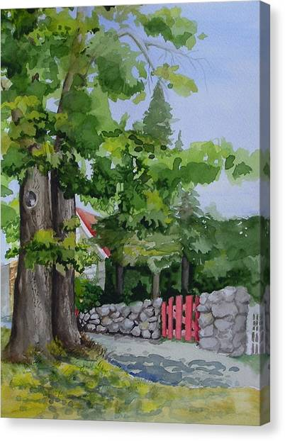 The Red Gate Canvas Print by Judi Nyerges
