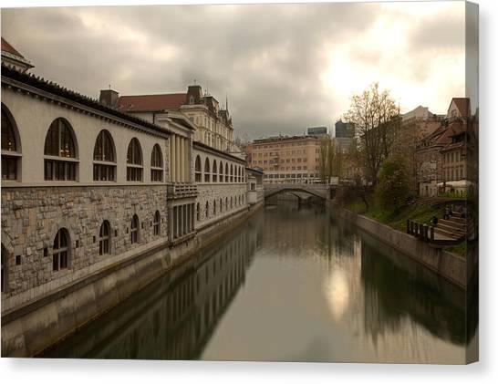 Ljubljana Canvas Print - The River Of Love by Ian Middleton