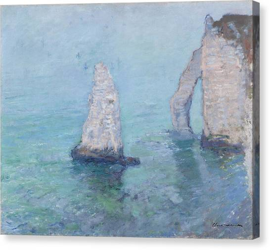 Etretat Canvas Print - The Rock Needle And The Porte D'aval by Claude Monet