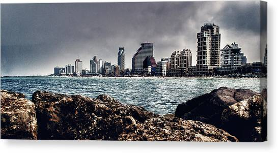 The Rocks_the Sea_the City Canvas Print by Amr Miqdadi