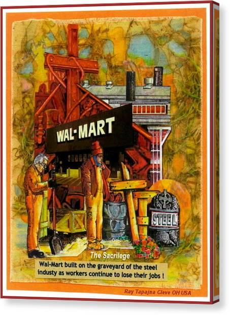 The Sacrilege Walmart Built In Grave Yard Of Steel Industry Canvas Print