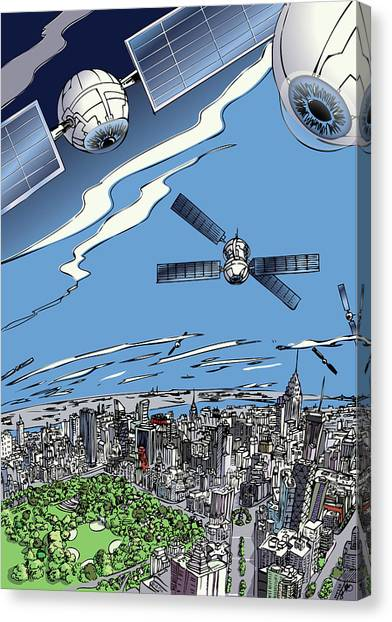 Canvas Print featuring the digital art The Satellites Are Watching Us by John Gibbs