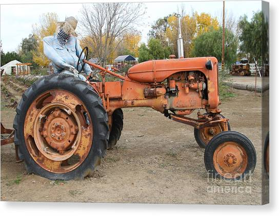 The Scarecrow Riding On The Old Farm Tractor . 7d10301 Canvas Print by Wingsdomain Art and Photography