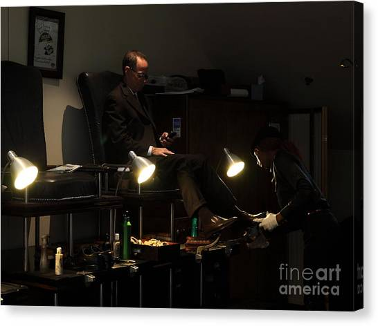 The Shoe Shine Girl - 5d17836 Canvas Print by Wingsdomain Art and Photography