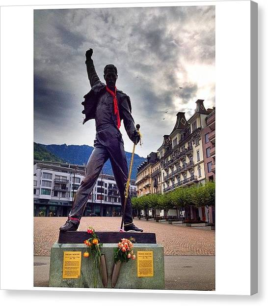 Swiss Canvas Print - 'the Show Must Go On' Freddie Mercury by Dave And Deb