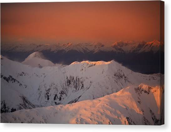 Tongass National Forest Canvas Print - The Snow-capped South Chilkat Mountains by Melissa Farlow
