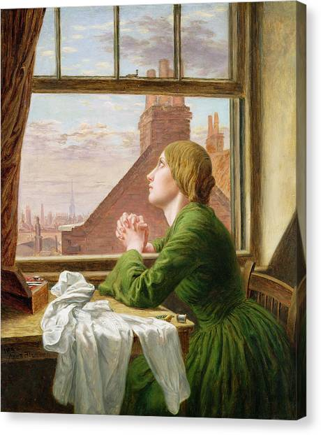 Seamstress Canvas Print - The Song Of The Shirt by Anna E Blunden