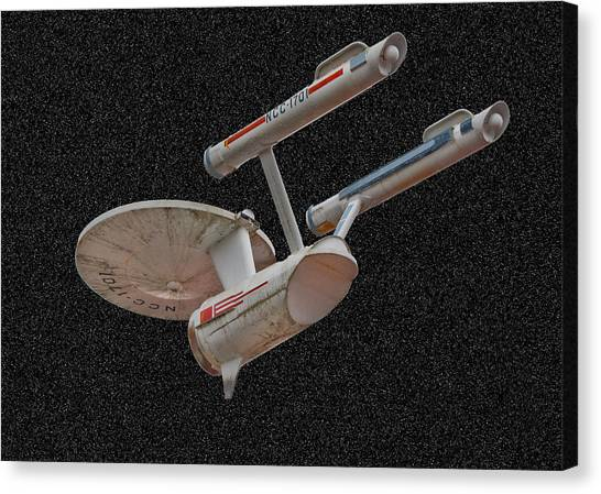 Starship Enterprise Canvas Print - The Starship In Space by Peggie Strachan