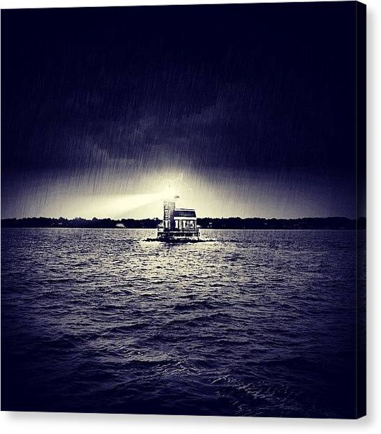 Lightning Canvas Print - [the Stepping Stone Lighthouse] by Ben Leser