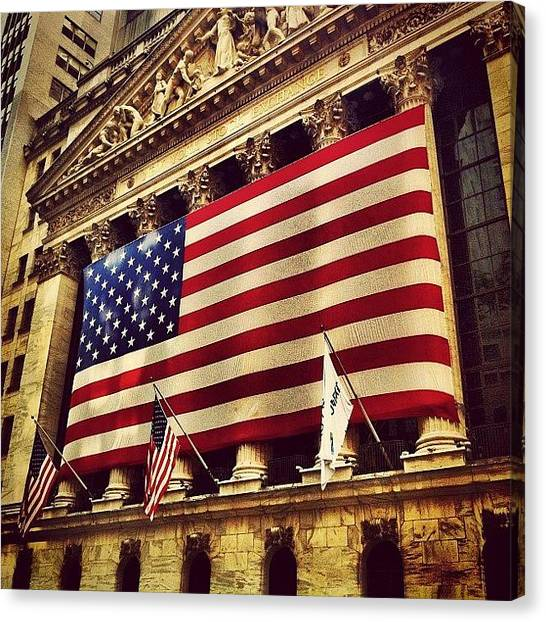 Times Square Canvas Print - The Stock Exchange Gets Patriotic by Luke Kingma
