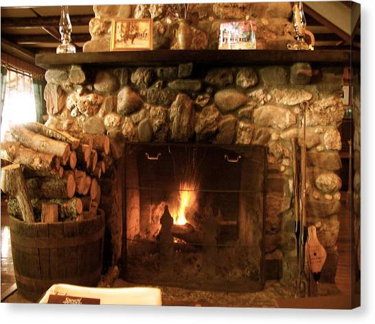 Stone Fireplace Canvas Print