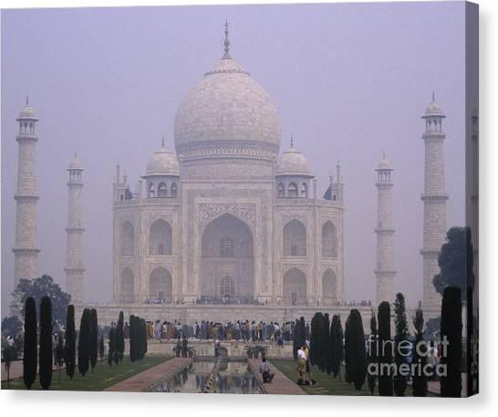 The Taj Mahal In Early Morning Mist Canvas Print