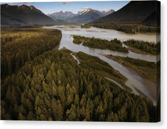 Tongass National Forest Canvas Print - The Taku River Is A Braided River by Melissa Farlow
