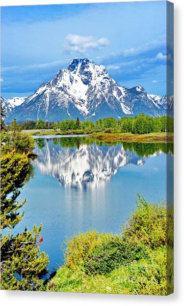 The Tetons From Oxbow Point Canvas Print by Richard Brady