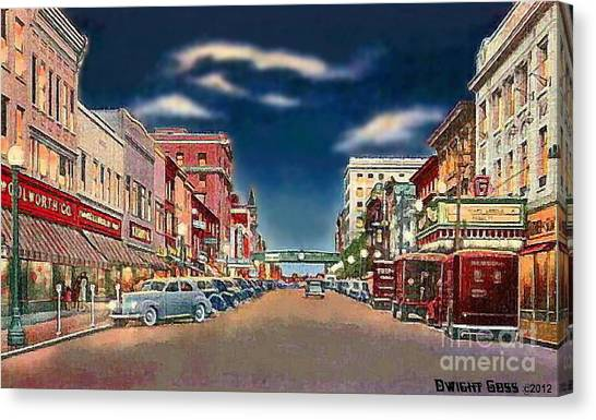 The Theater And Woolworth's In Norristown Pa In 1940 Canvas Print