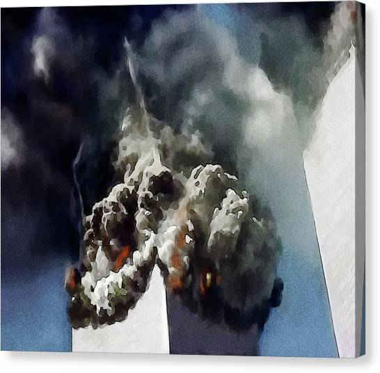 George W. Bush Canvas Print - The Towers Collapse by Jann Paxton