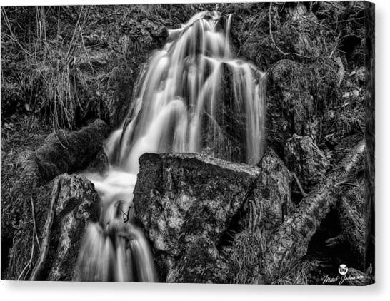 The Upper Butler Fork Falls Bw Canvas Print by Mitch Johanson
