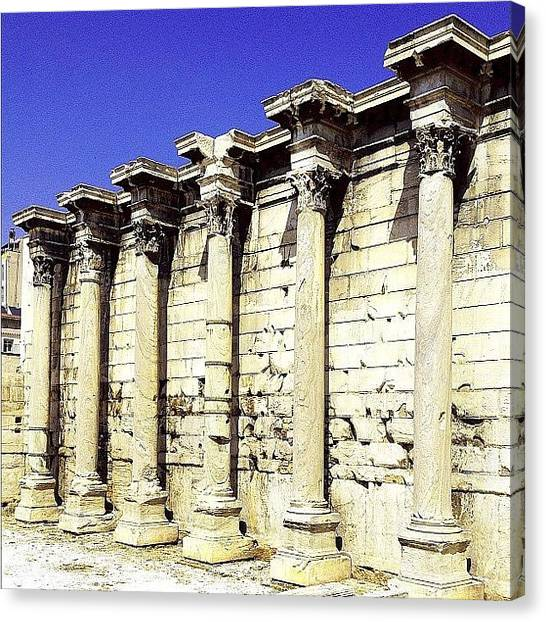 Libraries Canvas Print - The Wall Of Hadrian's Library #wall by Dimitre Mihaylov