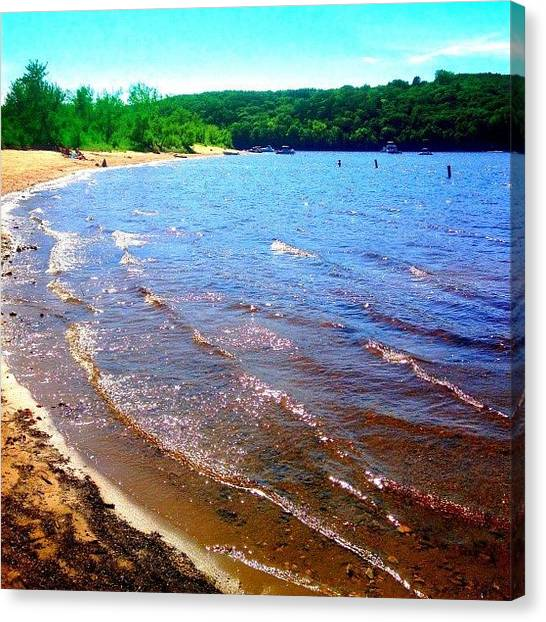 Wisconsin Canvas Print - The Warm #stcroixriver In Western by Shwa Moen