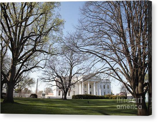 Whitehouse Canvas Print - The White House And Lawns by Neil Overy