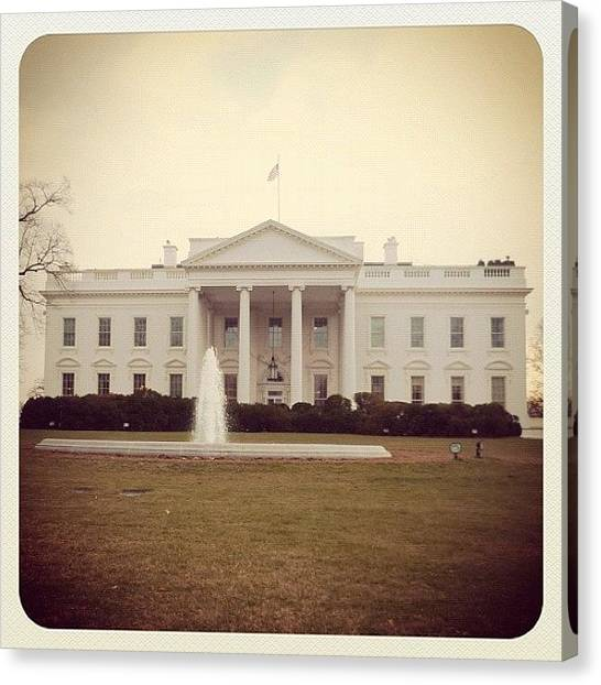 White House Canvas Print - The White House As Seen In 1977 by Darren Price