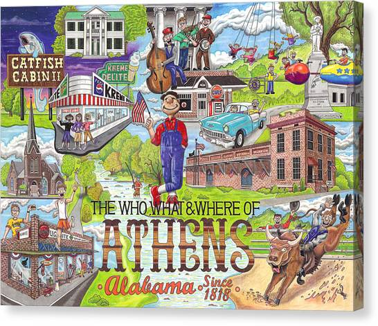 Prisma Colored Pencil Canvas Print - The Who What And Where Of Athens Alabama by Shawn Doughty