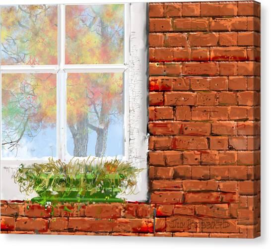 The Window Triptych Fall Canvas Print by Jim Hubbard