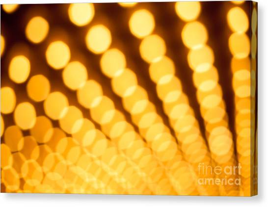Theater Lights In Rows Defocused Canvas Print by Paul Velgos