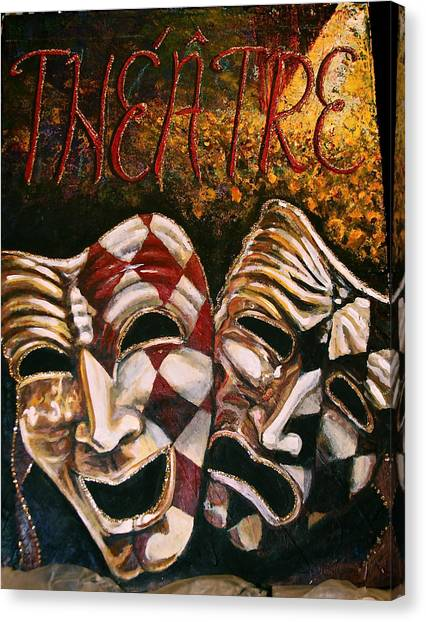 Theatre Masks Comedy And Tragedy Canvas Print by Martha Bennett