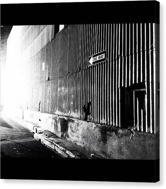 Street Signs Canvas Print - There's Only One Way Out by Katie Destefano