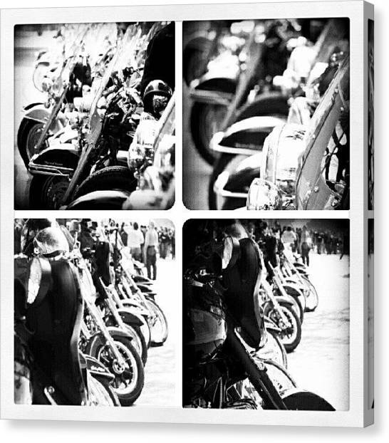 Biker Canvas Print - These #harleydavidson #motorcycles Are by Mary Carter