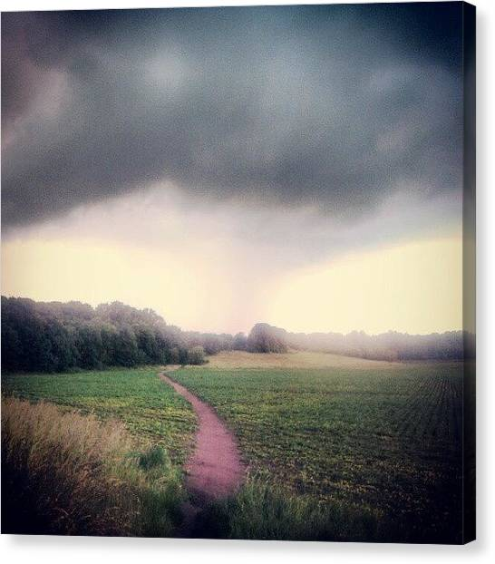 Rainclouds Canvas Print - Think I May Get Wet On This Walk by Pete Carr