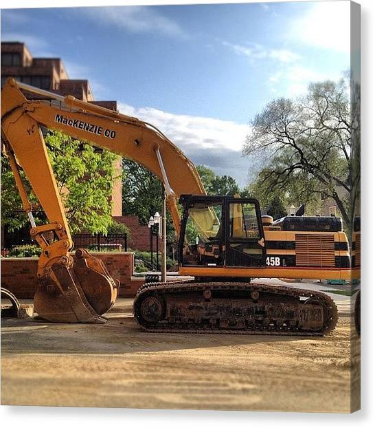 Excavators Canvas Print - This Was Working Outside My Hotel All by Simon Prickett