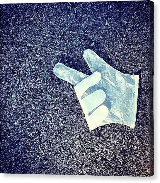 Gloves Canvas Print - This Way?  #glove #plasticglove #road by Darren Frankish